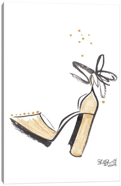Gold Shoe Fancy Bow And Bling Canvas Art Print