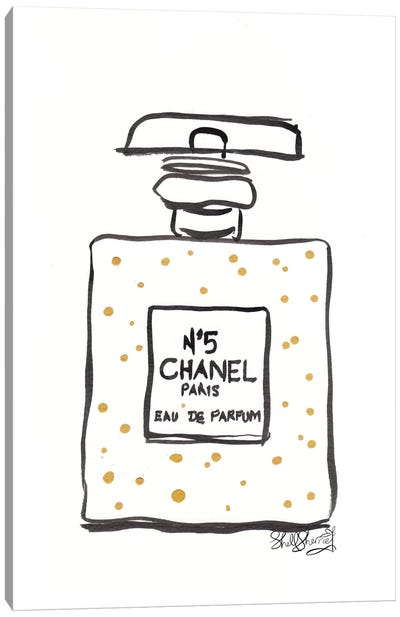 French Perfume Bottle Gold Spots And Black Canvas Art Print