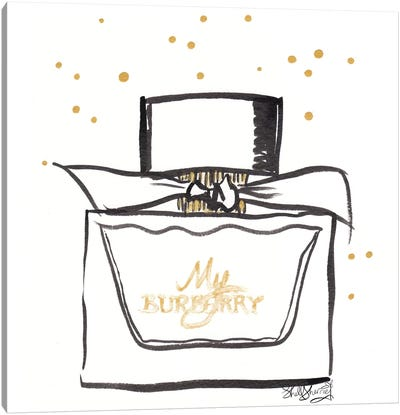 Perfume Bottle With Bow And Gold Spots Canvas Art Print