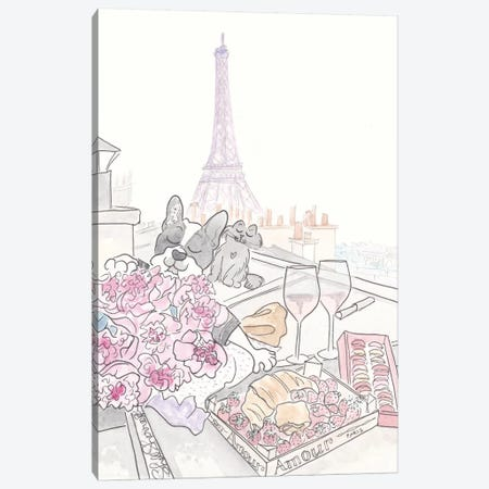 Paris Rooftop Picnic French Bulldog With Black Cat, Eiffel Tower View Canvas Print #SSH118} by Shell Sherree Canvas Art Print