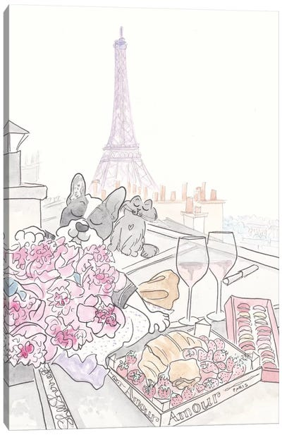 Paris Rooftop Picnic French Bulldog With Black Cat, Eiffel Tower View Canvas Art Print