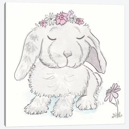 Bonney Bunny Rabbit With Flower Crown Canvas Print #SSH119} by Shell Sherree Canvas Print