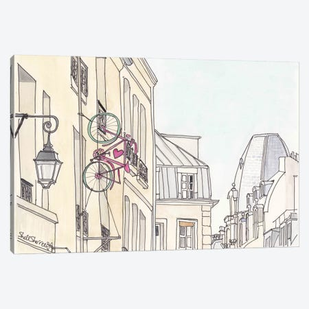 Paris Love Bicycle Canvas Print #SSH11} by Shell Sherree Art Print