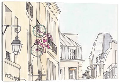 Paris Love Bicycle Canvas Art Print