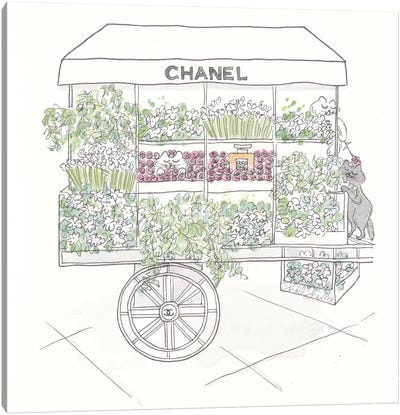 Chanel Flower Cart Cats White And Black Canvas Art Print