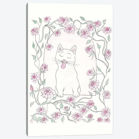 White Cat And Pink Rose Vine Canvas Print #SSH122} by Shell Sherree Canvas Artwork