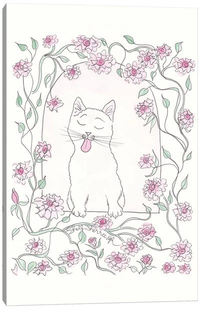White Cat And Pink Rose Vine Canvas Art Print