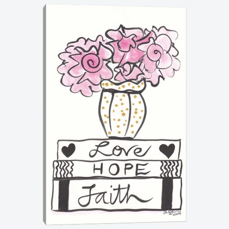 Faith Hope Love And Pink Flowers Gold Spots Canvas Print #SSH124} by Shell Sherree Art Print
