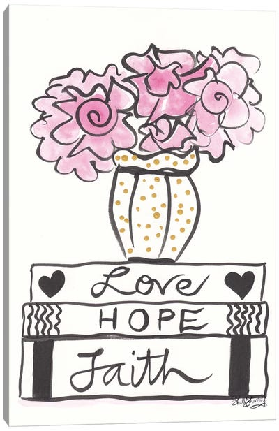 Faith Hope Love And Pink Flowers Gold Spots Canvas Art Print