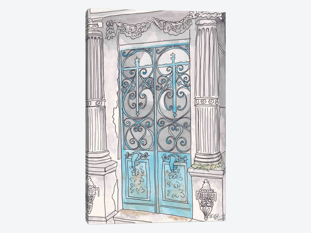Turquoise Gates Pere Lachaise Paris by Shell Sherree 1-piece Canvas Wall Art