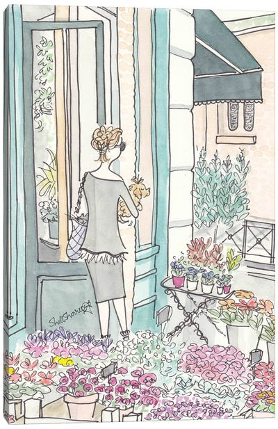 French Flower Shop Chic Canvas Art Print