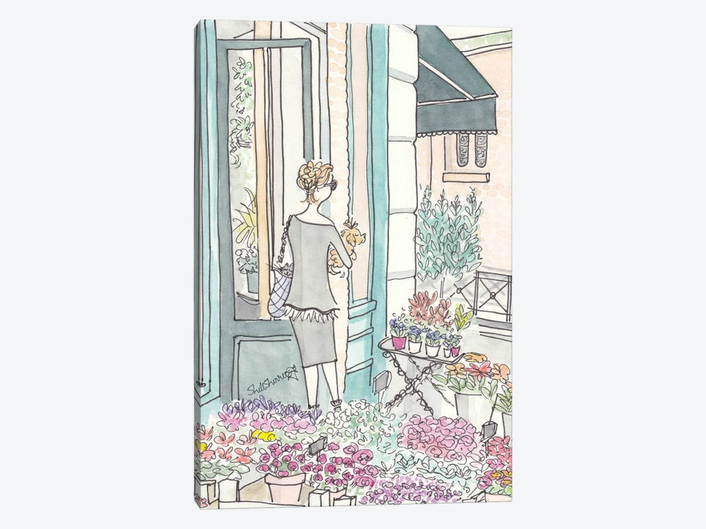 French Flower Shop Chic by Shell Sherree 1-piece Canvas Print