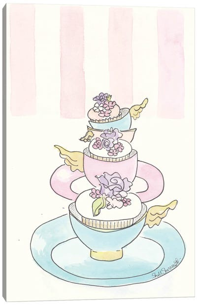 Winged Teacup Cupcakes Canvas Art Print
