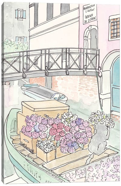 Venice Flowers With Cat Florist Canvas Art Print