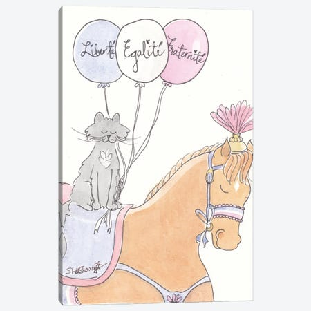 French Pony And Cat Bastille Day Canvas Print #SSH138} by Shell Sherree Canvas Print