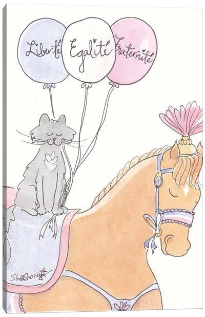 French Pony And Cat Bastille Day Canvas Art Print