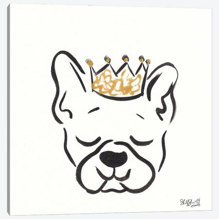 Boston Terrier Frankie With Crown Canvas Print #SSH140} by Shell Sherree Canvas Art