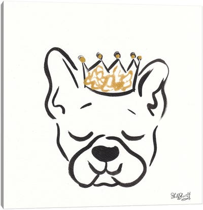 Boston Terrier Frankie With Crown Canvas Art Print