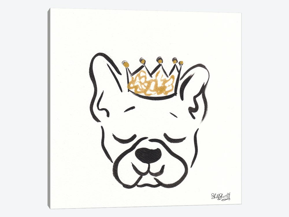 Boston Terrier Frankie With Crown by Shell Sherree 1-piece Art Print
