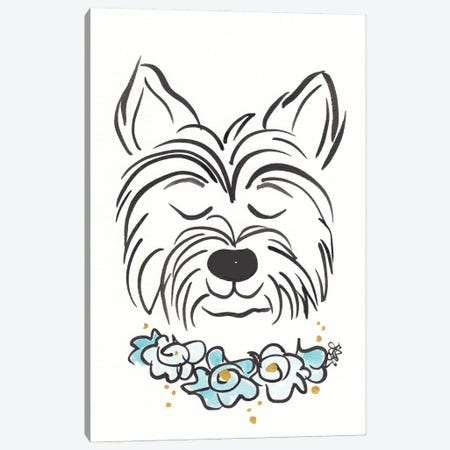 Westie Terrier Dog With Flower Collar Canvas Print #SSH142} by Shell Sherree Canvas Wall Art
