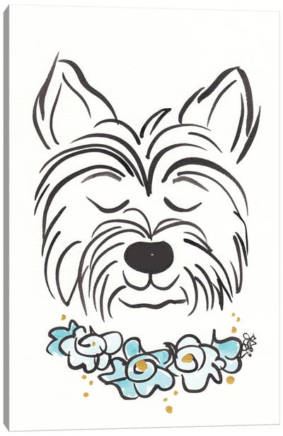 Westie Terrier Dog With Flower Collar Canvas Art Print