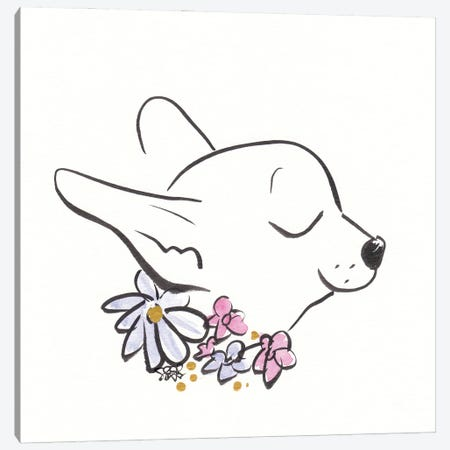 Chihuahua With Flower Collar Canvas Print #SSH143} by Shell Sherree Canvas Artwork