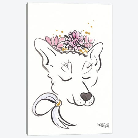 Sweet Dog Wolf Hound With Flower Crown Canvas Print #SSH144} by Shell Sherree Art Print