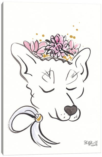 Sweet Dog Wolf Hound With Flower Crown Canvas Art Print
