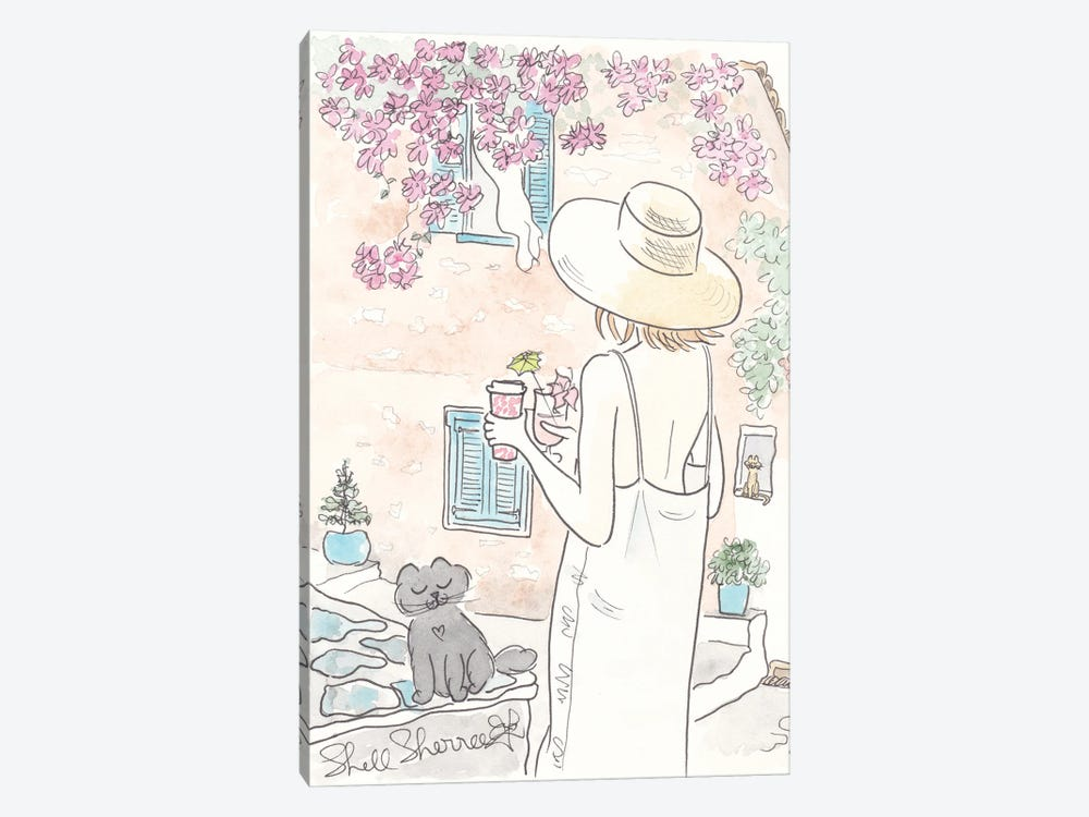 Greece Summer Linen Fashion And Cat by Shell Sherree 1-piece Canvas Wall Art