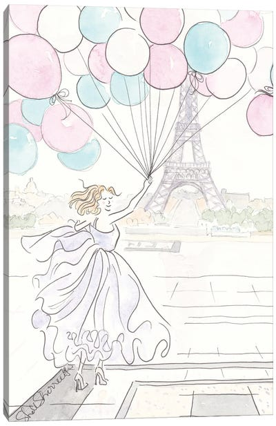 Balloons And Ballgowns Paris Eiffel Tower Canvas Art Print