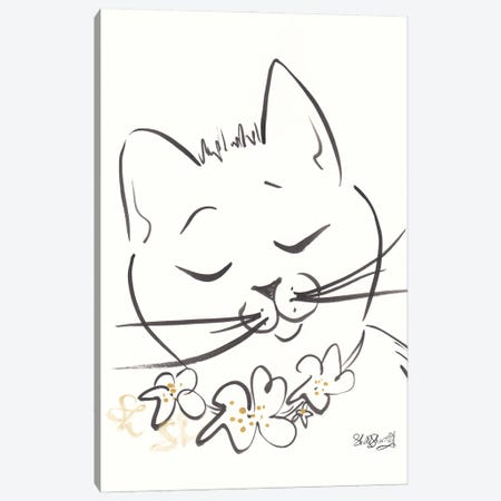 Sweet Angelina Cat With Flowers Black And White Canvas Print #SSH147} by Shell Sherree Canvas Print