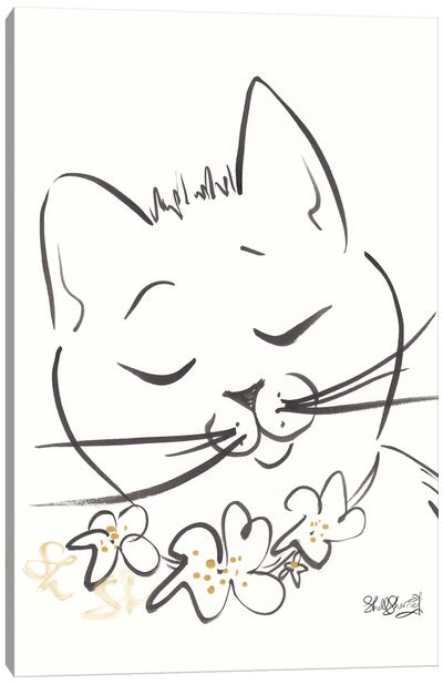 Sweet Angelina Cat With Flowers Black And White Canvas Art Print