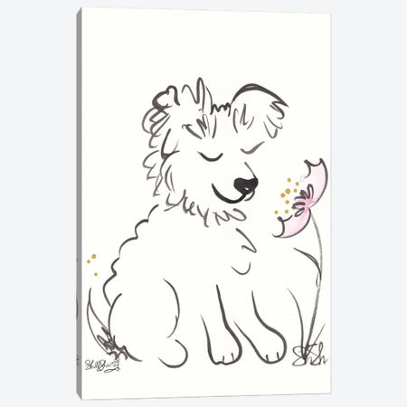 Scruffy Dog With Flower Canvas Print #SSH148} by Shell Sherree Canvas Wall Art