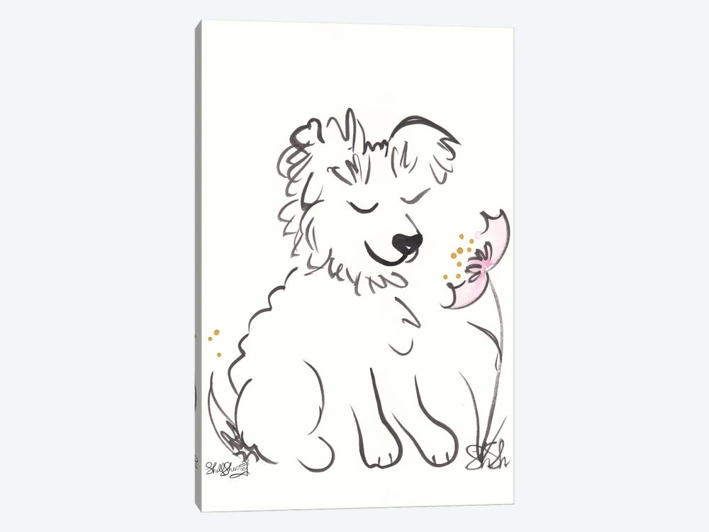 Scruffy Dog With Flower by Shell Sherree 1-piece Canvas Print