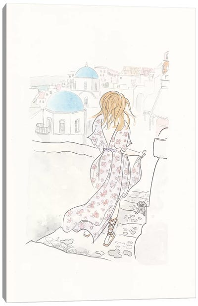 Flowy Casual In Santorini Canvas Art Print