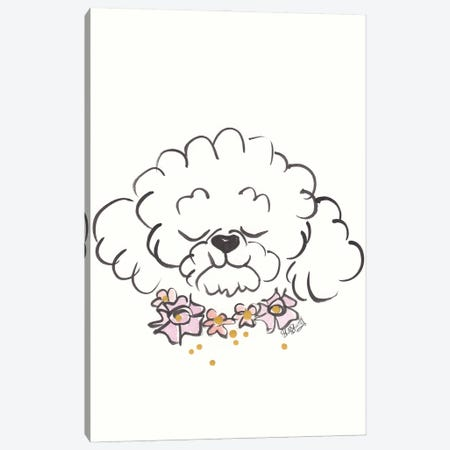 Bichon Frise Dog With Flower Collar Canvas Print #SSH152} by Shell Sherree Canvas Print