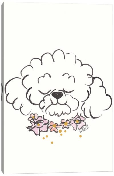 Bichon Frise Dog With Flower Collar Canvas Art Print