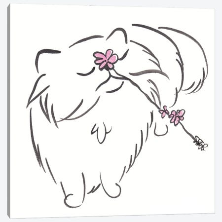 Minimal Cat Ella Brush Drawing With Flower Canvas Print #SSH153} by Shell Sherree Canvas Print