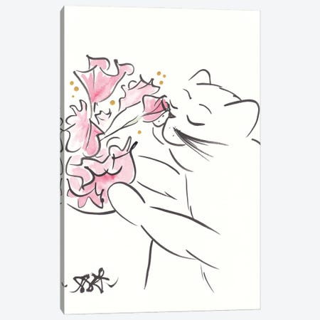 Pretty Cat With Coral Flowers Minimal Canvas Print #SSH155} by Shell Sherree Canvas Wall Art