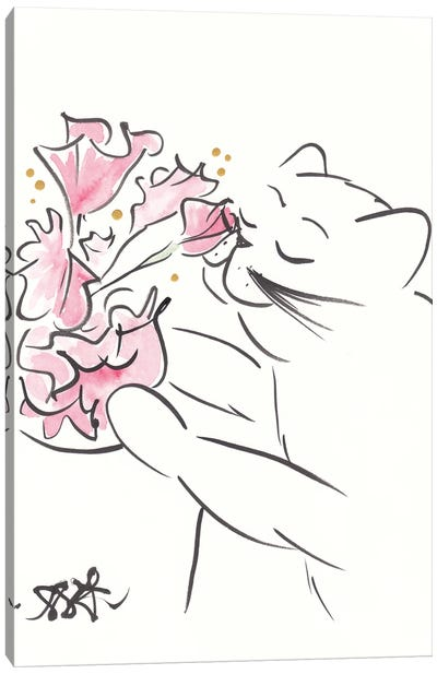 Pretty Cat With Coral Flowers Minimal Canvas Art Print