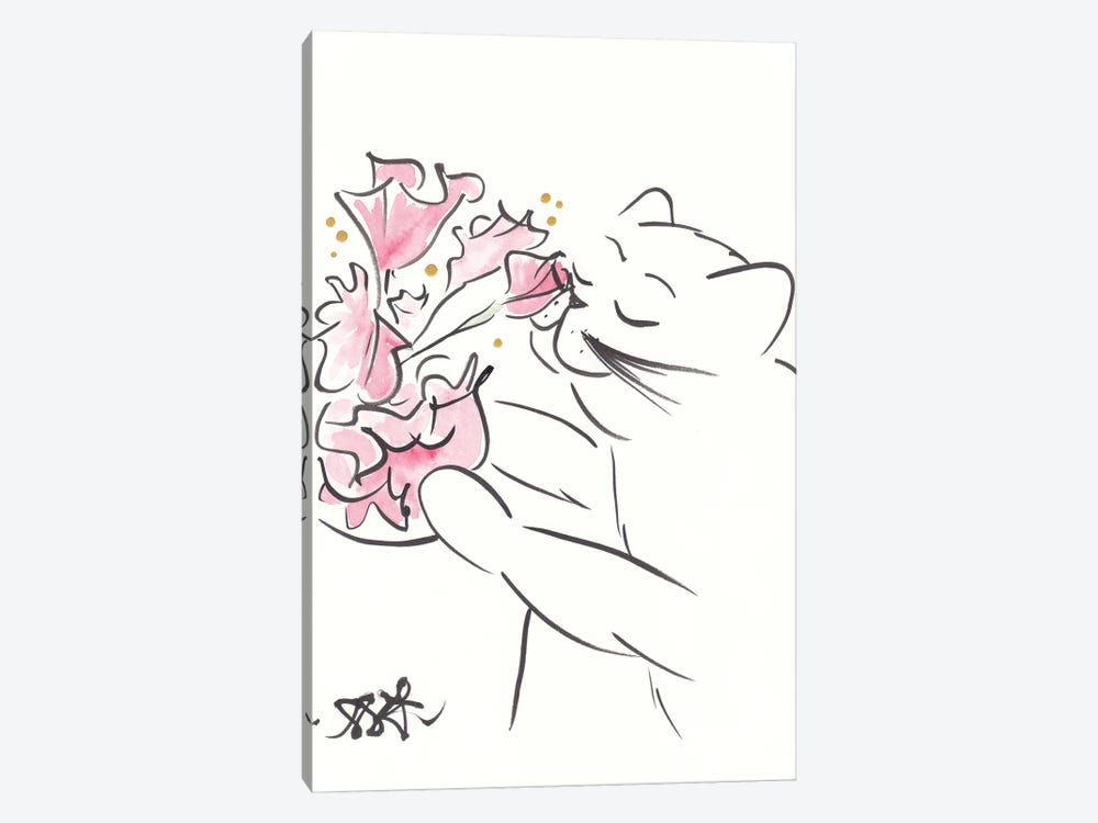 Pretty Cat With Coral Flowers Minimal by Shell Sherree 1-piece Art Print