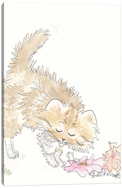 Tabby Cat With Flowers, Mouse And Fur Flying Canvas Art Print
