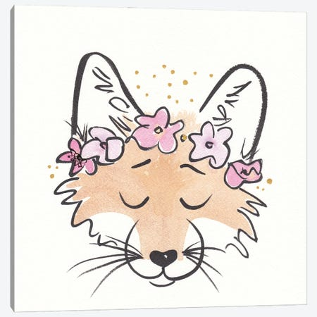 Friendly Fox With Flower Crown Canvas Print #SSH157} by Shell Sherree Canvas Art
