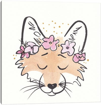 Friendly Fox With Flower Crown Canvas Art Print