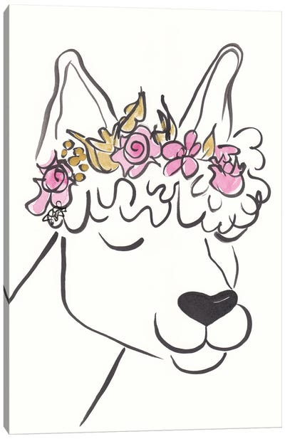 Lana Llama With Flower Crown Canvas Art Print