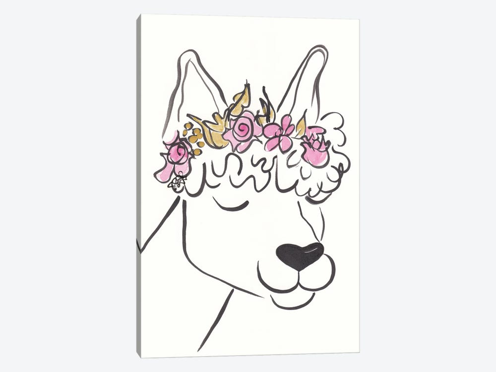 Lana Llama With Flower Crown by Shell Sherree 1-piece Canvas Artwork