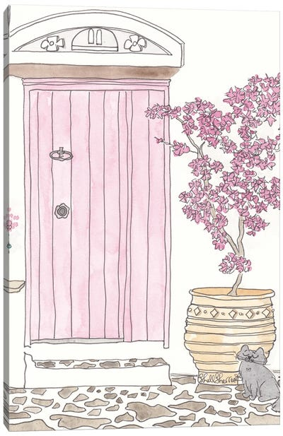 Pink Door Mediterranean With Bougainvillea Canvas Art Print
