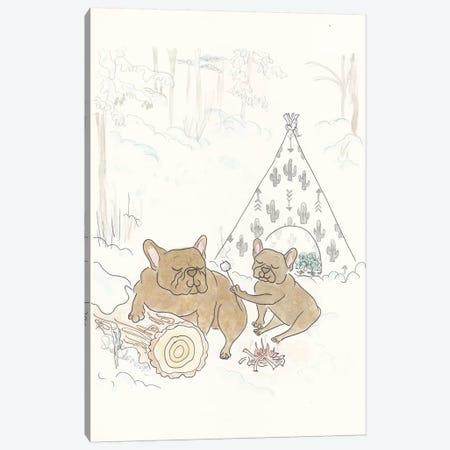 French Bulldogs Camping Snow Fun Canvas Print #SSH15} by Shell Sherree Canvas Wall Art