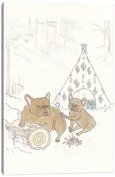 French Bulldogs Camping Snow Fun Canvas Art Print