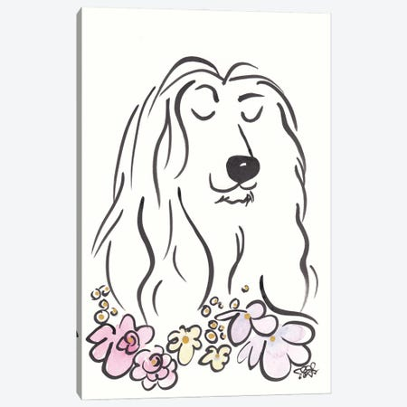 Regal Afghan Hound Dog With Flowers Canvas Print #SSH162} by Shell Sherree Canvas Art